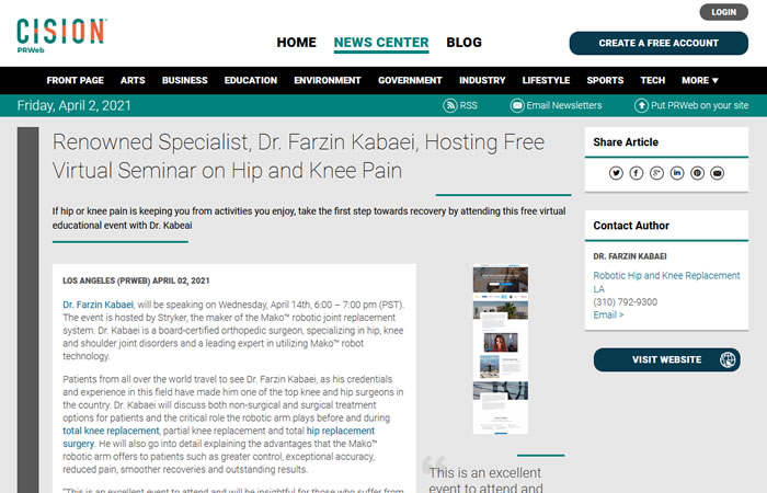 """screen of the article """"Renowned Specialist, Dr. Farzin Kabaei, Hosting Free Virtual Seminar on Hip and Knee Pain"""" at www.prweb.com"""