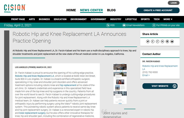 """screen of the article """"Robotic Hip and Knee Replacement LA Announces Practice Opening"""" at www.prweb.com"""
